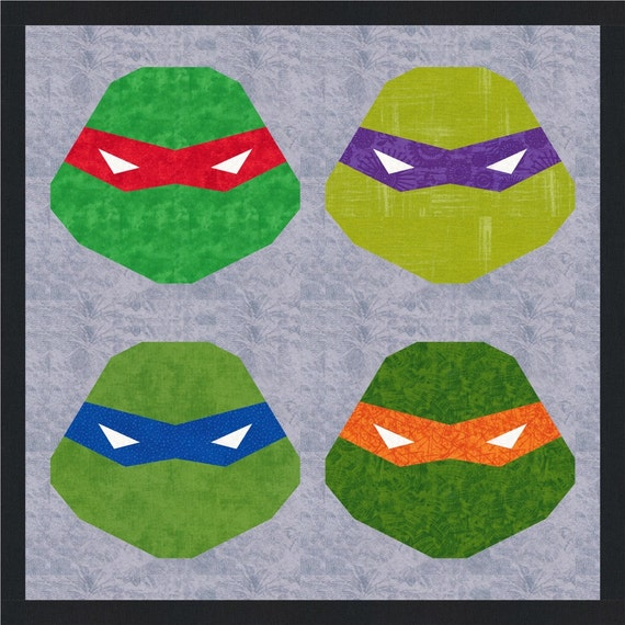Ninja Turtles Mask Quilt Block Pattern Foundation Paper