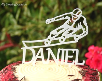 Snowboarder Cake Topper Decoration With Personalised Name