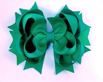 Emerald hair bow / back to school hair bow / layered hair bow