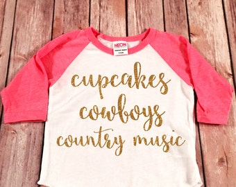 Cupcakes Country Music and Country Music Raglan Tee, Baby Raglan Tee,  Childrens Raglan Baseball tee, Toddler Raglan, Adult Raglan