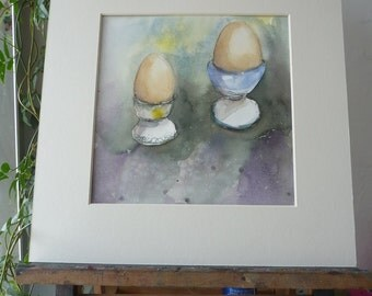 Original Watercolour; Breakfast, eggs rooster