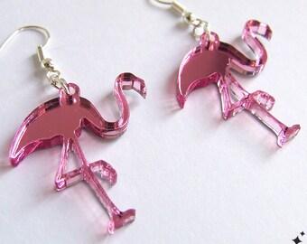 Flamingo Earrings - pink mirror acrylic earrings