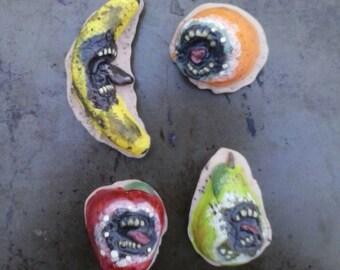 Fridge magnets, sculpture, art, one of a kind, horror art