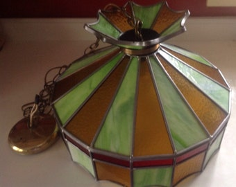 Midcentury retro stained glass, hanging light fixture