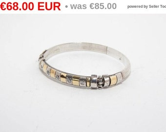 winter sales Vintage sterling silver and gold bracelet with zirgon 4094