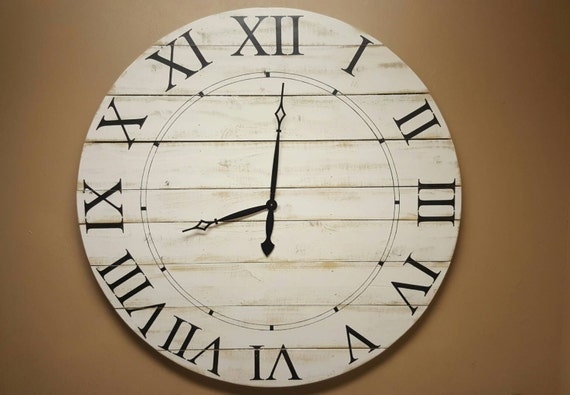 60in Norah farmhouse clock with white distressed