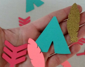 Wild One Tribal Confetti - Die Cuts - Party Supplies - Table Decorations - boho - aztec