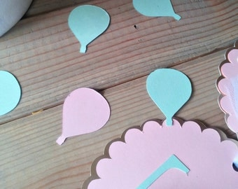 pastel Hot Air Balloon Confetti - up up & away party - hot air balloon party - die cuts - party supplies - table decorations - girl birthday