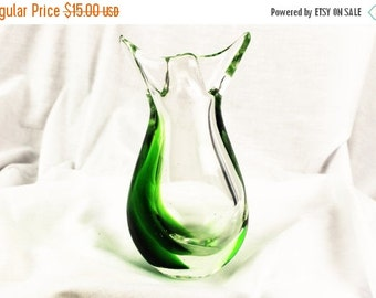 Super Sale Green And Clear Glass Hand Blown-Hand Made Vase/Bud Vase