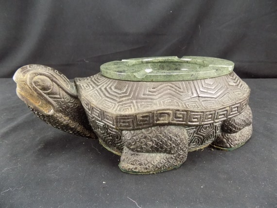 Asian Decor Cast Metal Bronze Polished Snapping Turtle Soapstone Ashtray