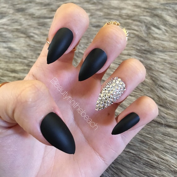 Matte black stiletto press on nails rhinestones