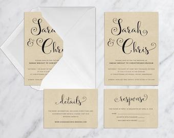 Printable Wedding Invitation Set, Vintage Kraft Wedding Invitation, Simple Wedding Invitation