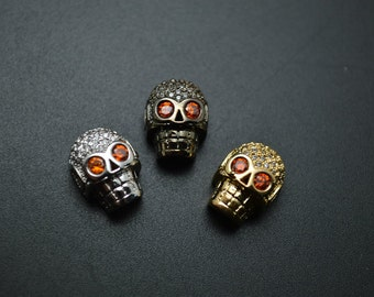 3pc Paved CZ Beads Copper Skull Metal Spacer Loose Beads Gold Color / Black Color / Rhodium Color
