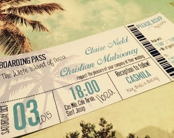 50 Destination Beach Holiday Abroad Boarding Pass Ticket Wedding Invitations!