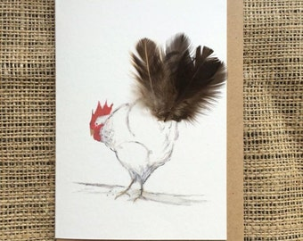 Sussex Hen Card - 100% Recycled Card - Blank card - Chicken Card