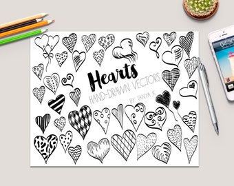 Hearts Clipart Valentine Clipart Commercial Use Heart Vector Hand-drawn Vectors Love Vector