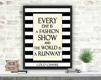 Coco Chanel Printable Quote, Chanel Art Print, Black and White Coco Chanel Decor, Girls Room Decor, Fashion Instant Download Wall Art Print