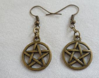 Pentagram earrings, pentacle earrings,wiccan jewellery,pentagram jewelry,pagan jewelry,handmade,gift,bronze pentagram,small pentacle,wicca