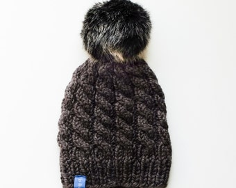 Chunky Knit Cable Texture Hat with Faux Fur Pompom