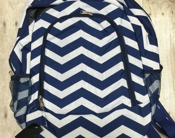 Personalized Navy Chevron Print Book Bag , Monogram Canvas Book bag, Personalized Backpack,  Kids Backpack, Personalized Book bag