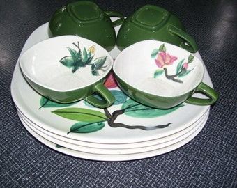 Red Wing Blossom Time, Redwing Blossom Time, 8 Pieces  1940s Vintage