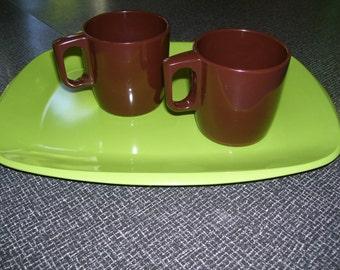 Rosti, Mepal Rosti, Melamine, Danish Modern, Mepal Service Rosti, Coffee Cups, Coffee Mugs, Set of 2 80s Vintage