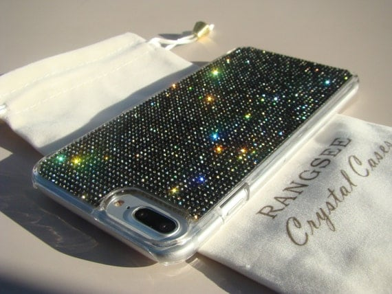 iPhone 7 Plus Case Black Diamond Rhinestone Crystals on Transparent Clear Case. Velvet Pouch Included, Genuine Rangsee Crystal Cases