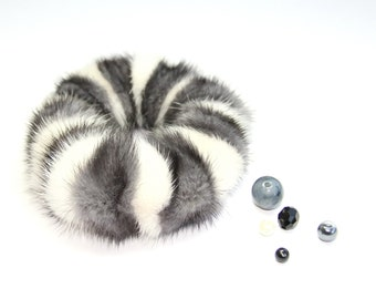 Real Fur Grey and Beige Scrunchie