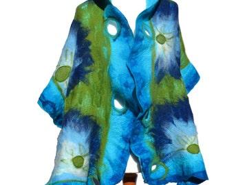 Blue  Nuno Felted scarf blue handmade unigue scarf  FREE SHIPPING