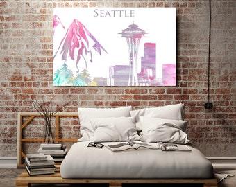 Seattle Watercolor City Skyline Space Needle print