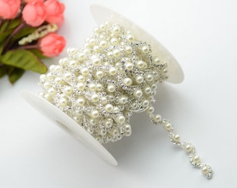 1 yard costume pearls rhinestone applique trims silver A323