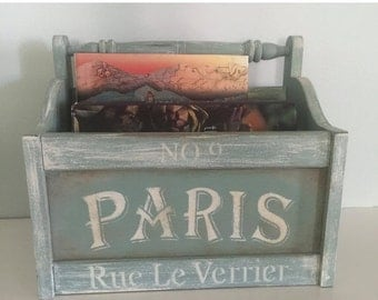 MOVING SALE Vintage Shabby chic magazine rack, farmhouse chic, french flea market, up cycled magazine storage