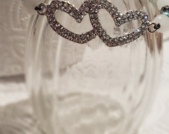 Double hearted rhinestone bracelet