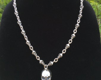 Mens .925 Sterling Silver skulls chain with skull pendant handmade.