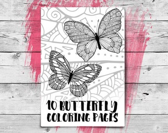 Butterfly Adult Coloring Book, 10 Printable Coloring Pages - Adult Colouring, Zentangle - Instant Download