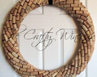 """Extra Large 25"""" Handmade Wine Cork Wreath, Without Grapes/No Grapes, Recycled Wine Cork Door Wreath"""