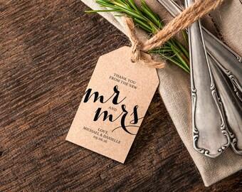 Thank You Wedding Tags, Rustic Wedding Tag, Gift Tag, Mr and Mrs Printable, Thank You Tag, Wedding Printable, PDF Instant Download #BPB195