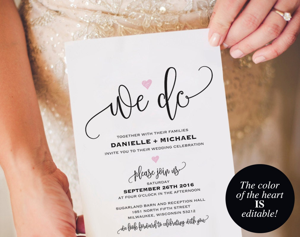 We Do Wedding Invitation Template Heart Wedding Invitation