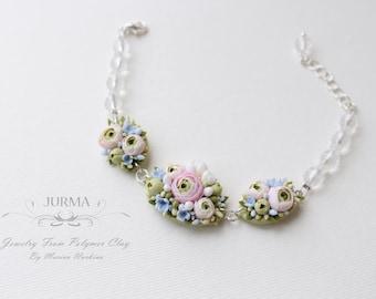 Flower Bracelet  From Polymer Clay With Shiny Rhinestones