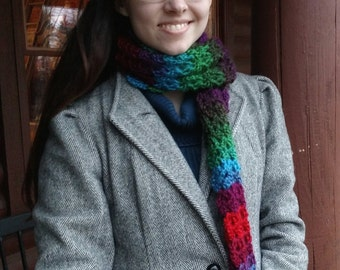 Bright and Colorful Shell Crochet Scarf