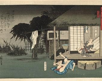 "Japanese Ukiyoe, Woodblock print, antique, Hiroshige, ""hizakurige dochu suzume : tokaido hamamatsu haku"""