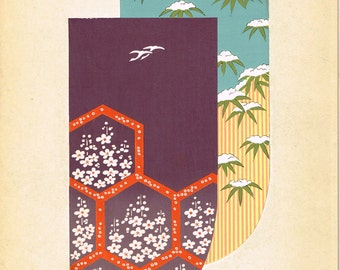 1936, Japanese antique woodblock print, Kimono Design, Kano Shuho, Harunobu-gonomi.