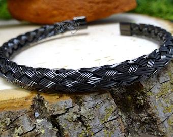 Black Braided Stainless Steel Bangle Bracelet