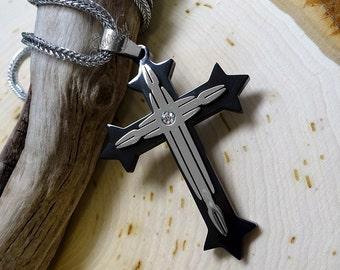 Black & Silver CZ Cross Pendant 22-Inch Men's Stainless Steel Necklace