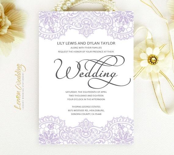Unique Elegant Wedding Invitations: Lace Wedding Invitations Elegant Purple Wedding Invitations