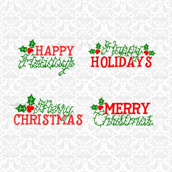 Happy Holidays Merry Christmas Mistletoe Lights String SVG STUDIO Ai EPS Scalable Vector Instant Download Commercial Use Cricut Silhouette