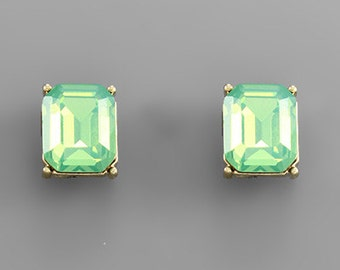 Jade Opal Rectangle Crystal Stud Earrings
