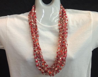 Red and white crocheted ribbon necklace #42100