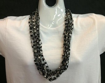 Black and white crocheted ribbon necklace #78102