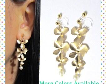 Matte Gold Plate Orchid Flower clip on earrings, D3G, Long Drop Dangle Earrings, Non Pierced Earring, Bridal Clip, Wedding clip on earrings